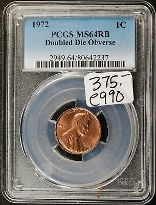 1972 Lincoln Head Cent.  Doubled Die Obverse.  In PCGS Holder.  MS64RB   e990
