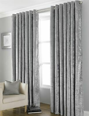 Blackout Crushed Velvet Curtains, Fully Lined Ring Top Eyelet Curtain Pair