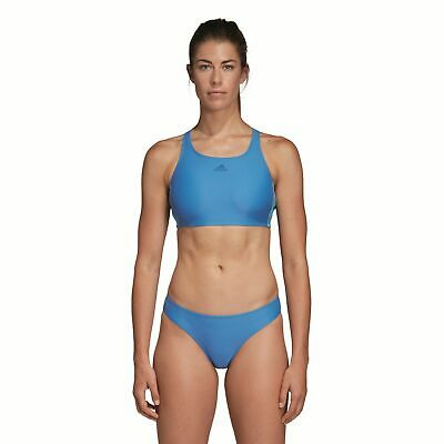 Damen Blau Weiß 3 Performance Adidas Fitness Bikini Stripes JKTclF1