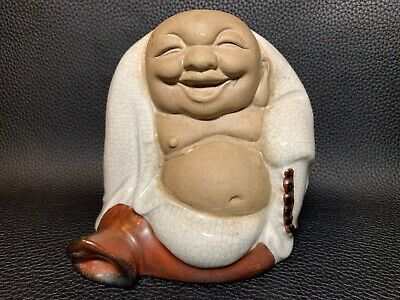 Vintage Laughing Happy Lucky Buddha White Celadon Crackle Porcelain & Ceramic