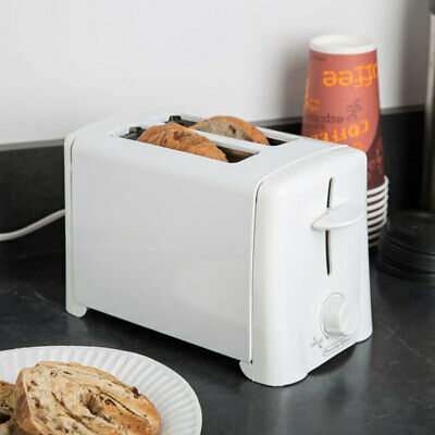2 Slice Toaster Wide Slot Bread Bagel Dual Function Breakfast Cool Touch White