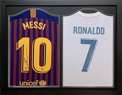 Framed Messi & Ronaldo Signed Framed Football Shirts Barcelona Real Madrid Proof