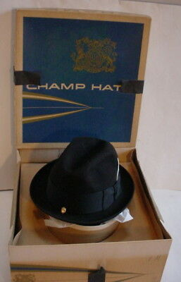 eb99a956196b6 Vintage CHAMP Kasmir Finish Men s Felt Black Fedora Hat 7 1 8 Master  Craftsman +