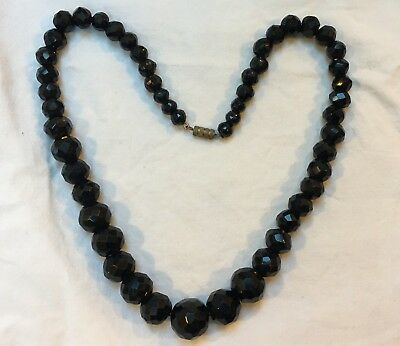 Antique Victorian French jet necklace black glass large round graduated beads
