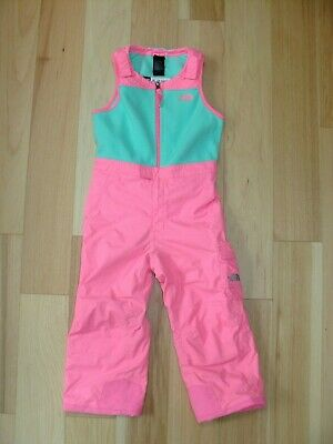 743ca013b THE NORTH FACE Toddler Girls Snow Pants Ski Suit Bib Insulated Pink Green 5T