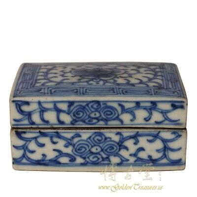 Rare Antique Chinese Blue and White Porcelain Ink Box