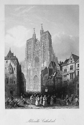 1850 Abbeville Kathedrale Frankreich France Ansicht view Stahlstich engraving