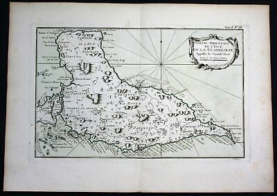 1764 - Guadeloupe Grande Terre Lesser Antilles Bellin handcolored antique map