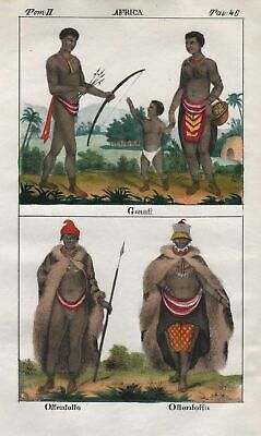 1840 - South Africa Khoikhoi people costume Lithograph Negro natives