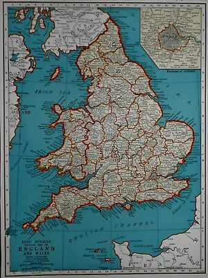 Vintage 1940 Atlas Map World War WWII Era England, Wales & Scotland London Inset