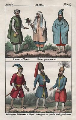 1840 - Algiers Algeria Moors North Africa costume people Lithograph