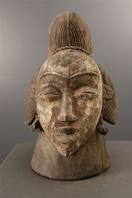 170906 - Old and Rare Tribal used African female Punu head mask - Gabon.