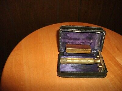 Vintage Gillette new standard gold tone safety razor with box & metal blade case