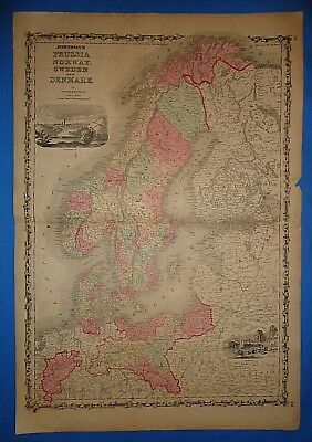 Vintage 1861 NORWAY - SWEDEN - DENMARK MAP Old Antique Original Atlas Map 102218