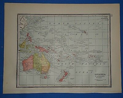 Vintage 1891 SOUTH PACIFIC OCEAN MAP ~ Old Antique Original Atlas Map 112118