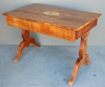 Antique lyre based centre table desk marquetry 1825 Biedermeier Sheraton inlaid