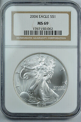2004 American Silver Eagle 1oz bullion coin NGC MS69