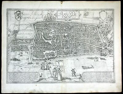 ca. 1575 Utrecht Traiectum Holland Braun Hogenberg map Plan gravure engraving
