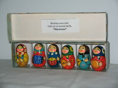 "Russian Souvenir Gift Set 6 Nested Dolls ""Musicians"" Hand Made & Painted 5cm Hig"