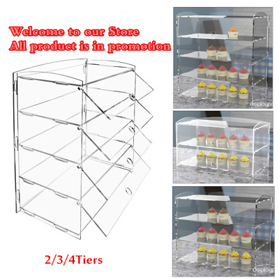 Display 2/3/4 Tier Acrylic Bakery Display Cabinet Counter Food Pastry Case Stand