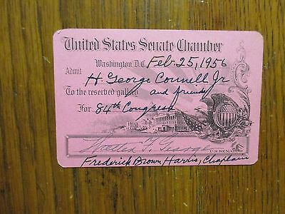 WALTER F. GEORGE(Died-1957)/Frederick Brown Harris Signed 56 Senate Chamber Pass