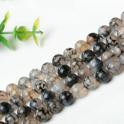 Dragon Veins Agate Gemstone Spacer Loose Beads 4/6/8/10/12mm 15'' Strand Diy