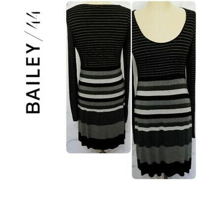 cd4f18408099 ANTHROPOLOGIE x BAILEY 44 | Womens Size MEDIUM BLACK and GRAY STRIPED Dress