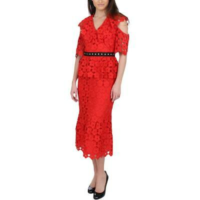 95a24e3c41f Juicy Couture Black Label Womens Red Lace Cold Shoulder Midi Dress 0 BHFO  2576