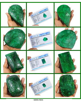Certified 8445 Ct/4 Pcs Natural Green Emerald Mix Cut Hand Carved Huge Gemstone