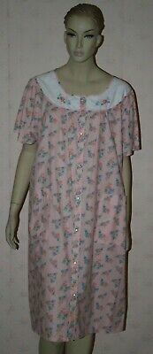 Pink K Floral Short Sleeve Cotton Blend Nightgown L