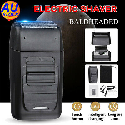 AU Rechargeable Men Beard Electric Shaver Bald Razor Cordless Dual Foil Clipper