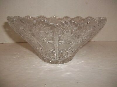 VINTAGE Cut Crystal HOBSTAR Scalloped Edge Flared BOWL 1860-1900s UNIQUE STYLE