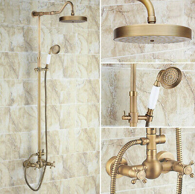 Antique Brass Bathroom Rain Shower Faucet Set Mixer Tap Two Cross Handle frs133