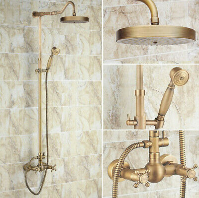 Antique Brass Bathroom Rain Shower Faucet Set Mixer Tap Two Cross Handle frs132