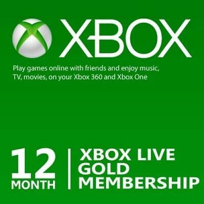 12 Month Microsoft Xbox Live Gold Membership Subscription for Xbox One/Xbox 360b