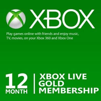 12 Month Microsoft Xbox Live Gold Membership Subscription for Xbox One/Xbox 360a