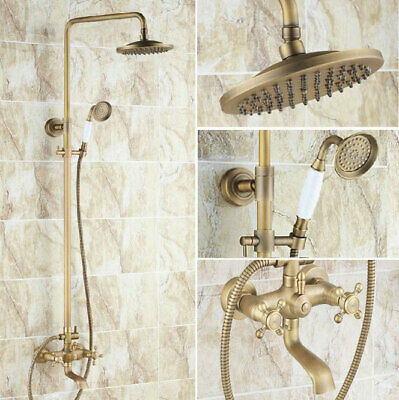 Antique Brass Bathroom Rain Shower Faucet Set Cross Handle Tub Mixer Tap frs122