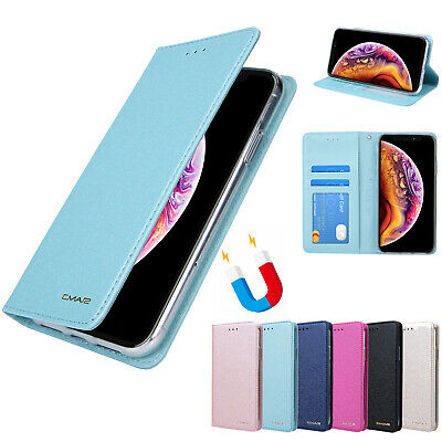 For iPhone XS MAX 6 7 8 X XR Magnetic Leather Flip Cover Card Wallet SILK CASE