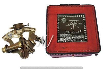 "Vintage Marine Brass Sextant Working Astrolabe Ship Item 4"" With Leather Box"