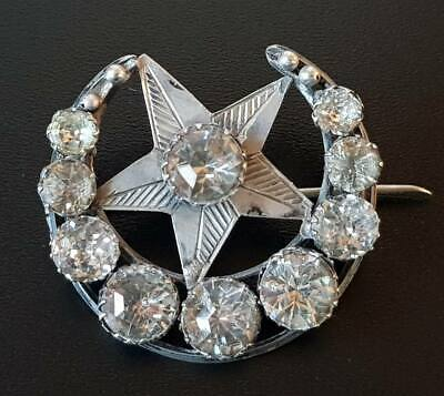 Antique Victorian Large Sterling Silver Paste Moon Star Brooch