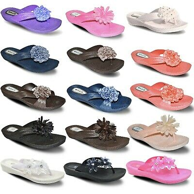 Womens Ladies Flip Flops Soft Shower Pool Jelly Beach Sandals Mules Slider Shoes
