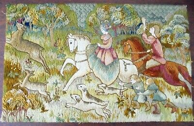 Vintage Woolwork Tapestry Picture Medieval Hunting Scene circa 1950's