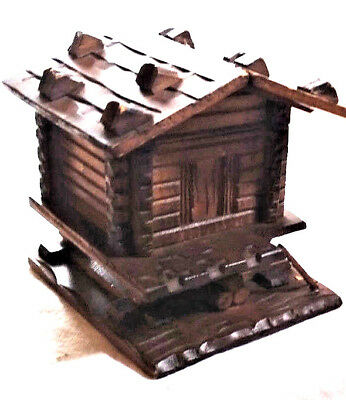 """Vintage INKWELL Carved Wooden 4"""" Log Cabin, Hinged Roof, Glass Well, very nice!"""