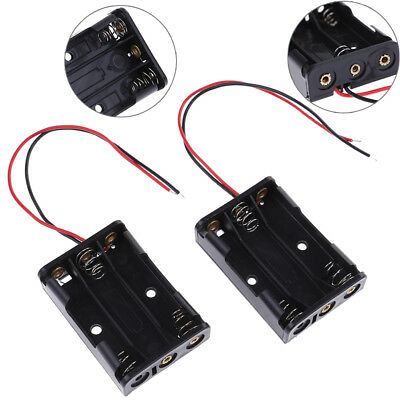 2 Pcs black plastic battery holder case wired for 3 x AAA 4.5v with lead wire bG