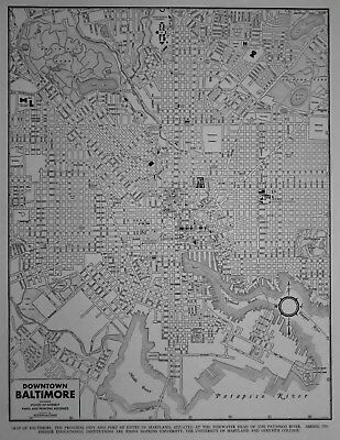 Vintage 1941 World Atlas City Map Downtown Baltimore, Maryland MD World War WWII