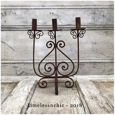 Vintage Spanish Revival Wrought Iron Candelabra Gothic Medieval Decor ~ Rusty