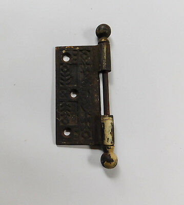 Antique Vintage Eastlake Half Door Ornate Iron Hinge Cannonball Pin