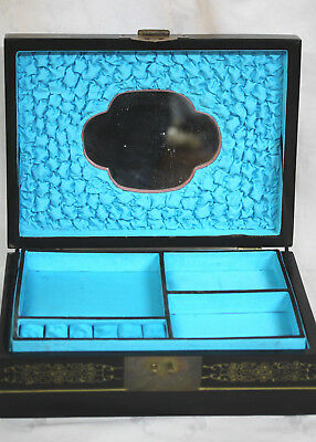 Large Vintage Chinese Lacquer Jewelry Box. Jade/Mother of Pearl Raised Relief