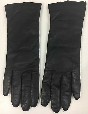 Vintage Gloves Soft Black Leather Driving Evening Cashmere-lined Womens M Winter