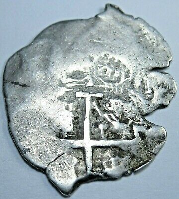 1600's-1700's Spanish 1 Reales Piece of 8 Real Colonial Pirate Treasure Cob Coin